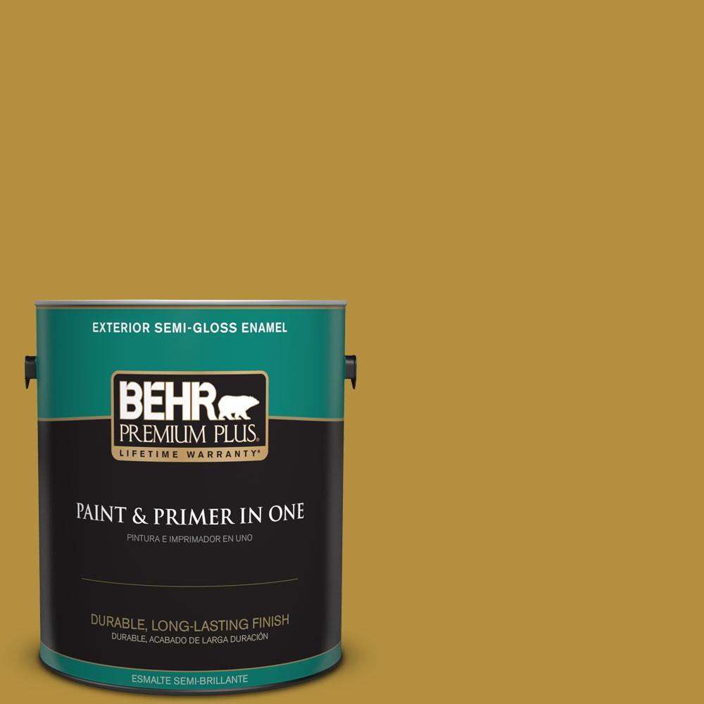 BEHR Premium Plus 1-gal. #370D-7 Venetian Gold Semi-Gloss Enamel Exterior Paint