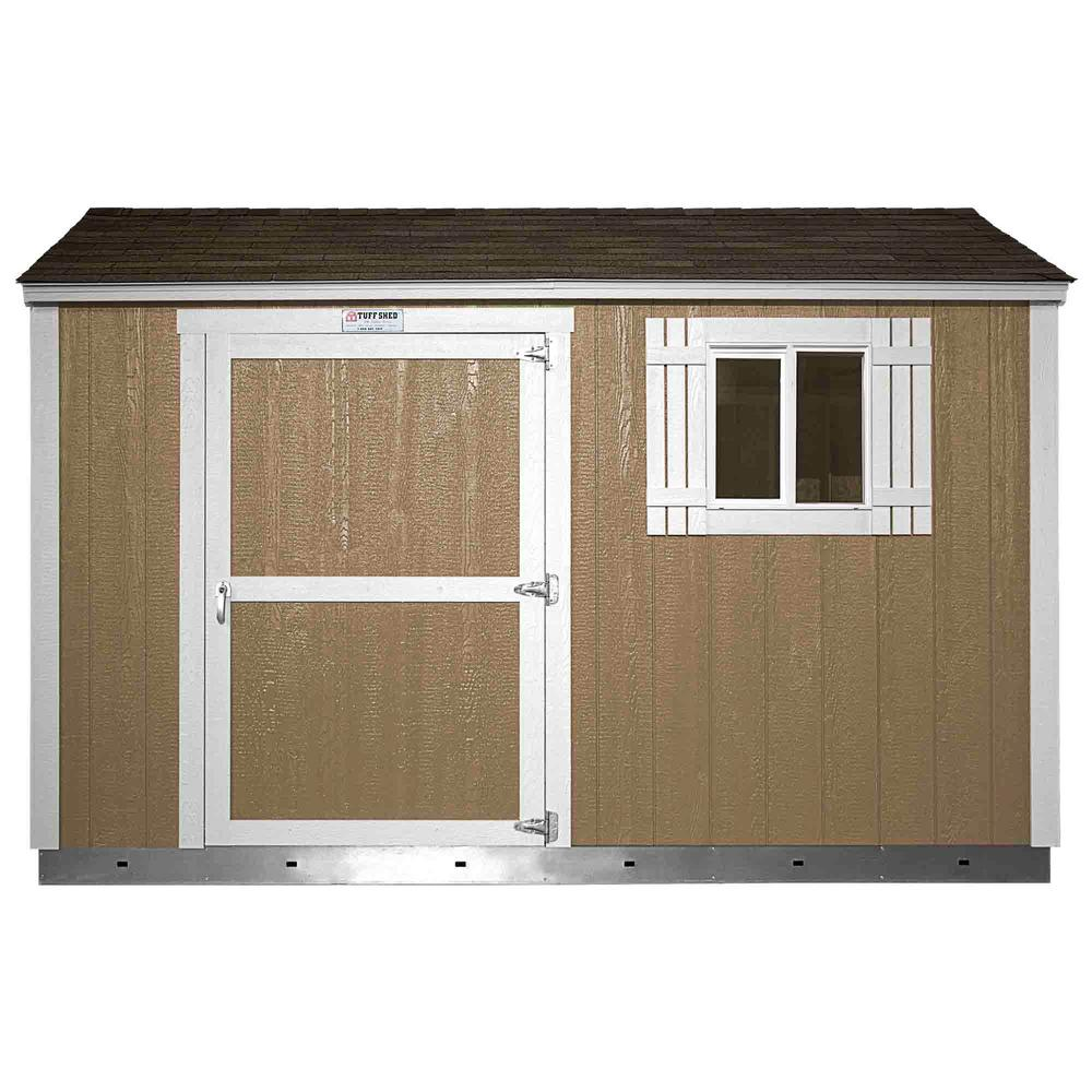 Tuff Shed Installed The Tahoe Series Tall Ranch 8 ft. x 12 ft. x 8 ft. 6 in. Painted Wood Storage Building Shed and Sidewall Door, Browns / Tans -  Tahoe 8x12 S
