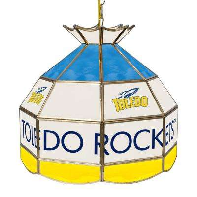 University of Toledo 16 in. Gold Hanging Tiffany Style Billiard Lamp