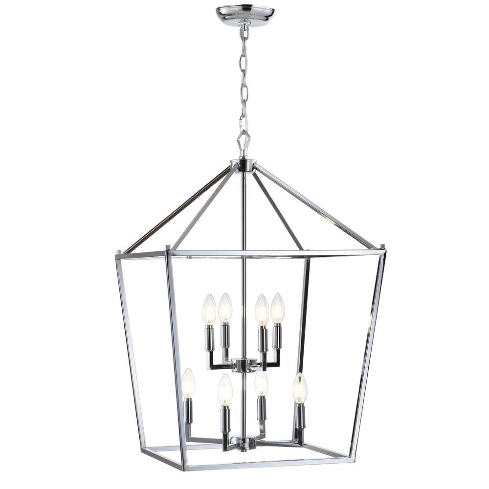 8 Bulb Chrome Lantern Metal Led Pendant