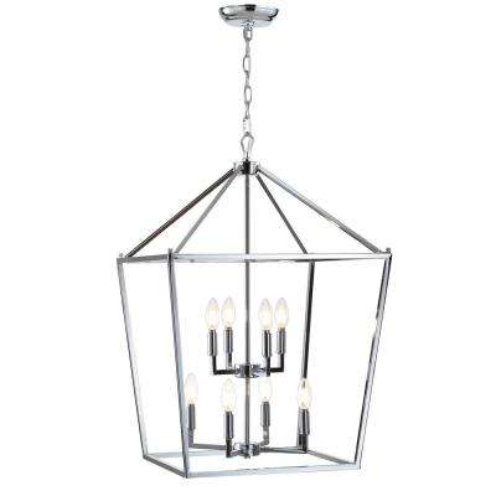 Pagoda 20 in. 8-Bulb Chrome Lantern Metal LED Pendant