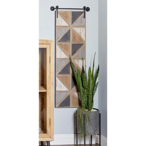 Litton Lane 49 in. x 16 in. Multi-Colored Triangles Wooden Wall