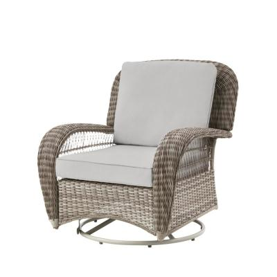 Beacon Park Gray Wicker Outdoor Patio Swivel Lounge Chair with CushionGuard Stone Gray Cushions