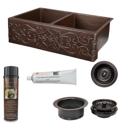 Undermount Copper 33 in. 0-Hole 50/50 Double Bowl Kitchen Sink with Scroll Design and Drain in Oil Rubbed Bronze