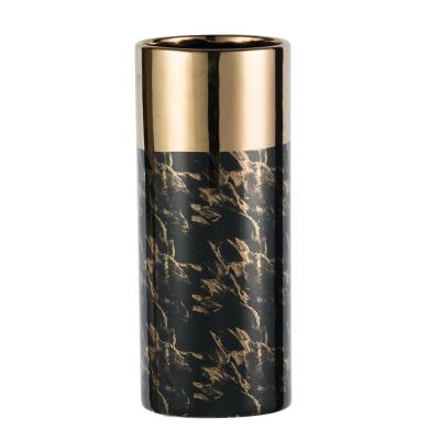 Modern Chic Gloss Black and Gold Tall Ceramic Vase