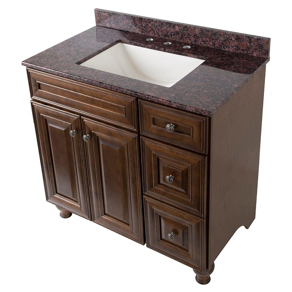 Home Decorators Collection Templin 37 in. Vanity in Coffee with Stone Effects Vanity Top in Tan Brown