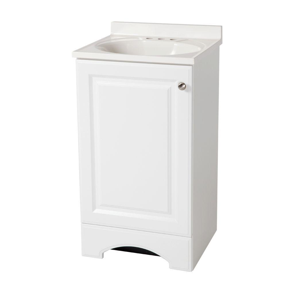 GlacierBay Glacier Bay 18 in. W x 35 in. H x 16 in. D Bath Vanity in White with Cultured Marble Vanity Top in White