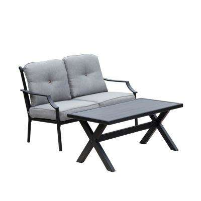 2-Piece Metal Patio Deep Seating Set with Gray Cushions
