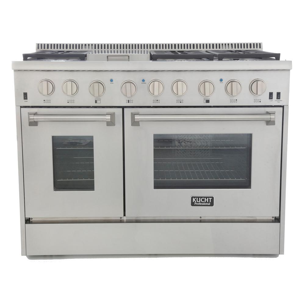 Kucht Professional 48 in. 6.7 cu. ft. Double Oven Dual Fuel Range Propane  Ready (LP) and Convection Oven in Stainless Steel