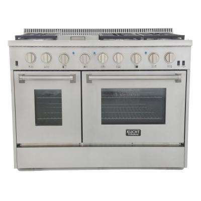 Professional 48 in. 6.7 cu. ft. Double Oven Dual Fuel Range Propane Ready (LP) and Convection Oven in Stainless Steel