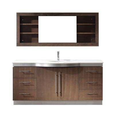 Dinara Single 72 in. Vanity in Smoked Ash with Nougat Quartz Vanity Top in Smoked Ash and Mirror