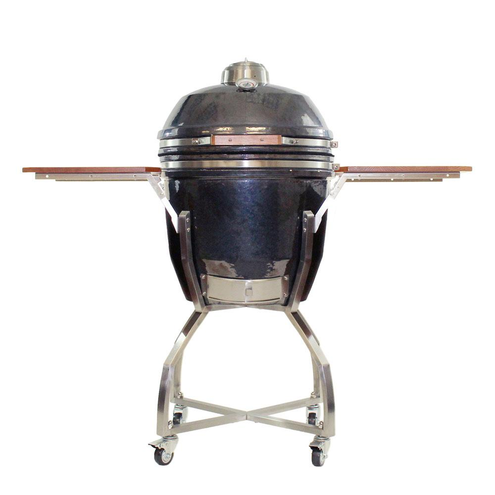 19 in. Ceramic Kamado Grill in Gun Metal with Stainless Steel