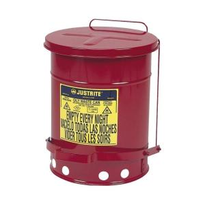 Just Rite 6 Gal Red Oily Waste Can Jus09100 The Home Depot