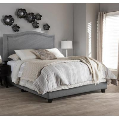 Gray Queen Upholstered Platform Bed