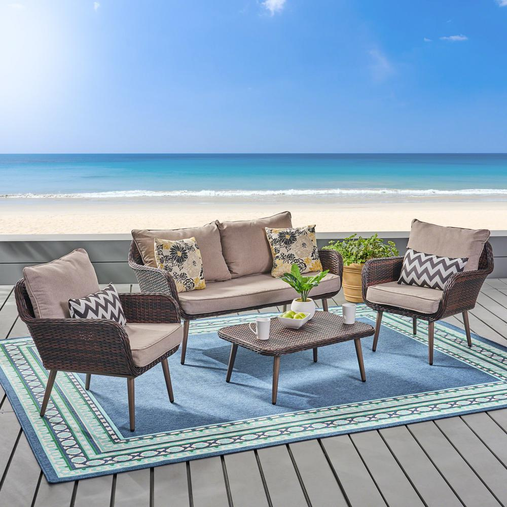 Noble House 4-Piece Wicker Patio Conversation Set with Light Beige Cushions