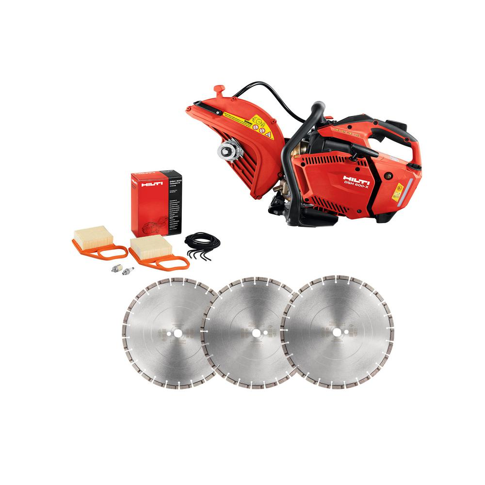 Hilti DSH 600-X 12 in. Hand Held Gas Saw with 12 in. Premium Diamond Saw Blades