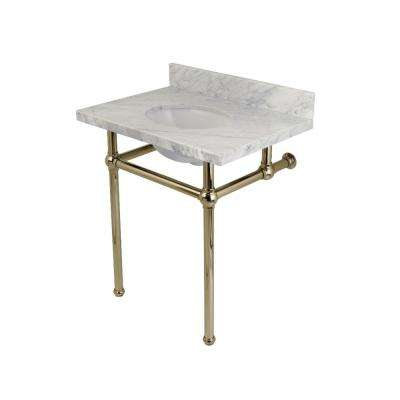 Washstand 30 in. Console Table in Carrara Marble White with Metal Legs in Polished Nickel
