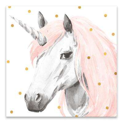 """Pink Unicorn""  by Lot26 Studio Printed Canvas Wall Art"