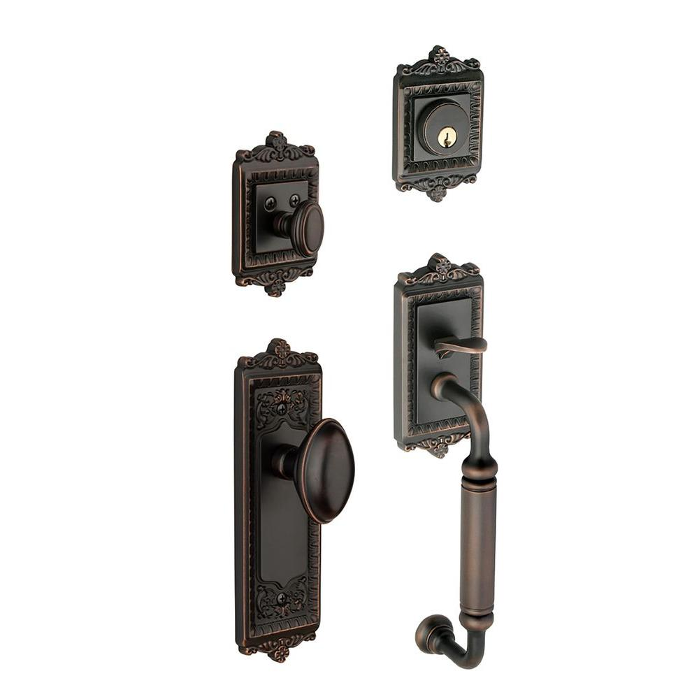 Grandeur Windsor Single Cylinder Timeless Bronze C-Grip Handleset with Eden Prairie Knob