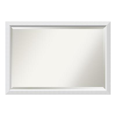 Blanco 40 in. W x 28 in. H Framed Rectangular Beveled Edge Bathroom Vanity Mirror in Satin White