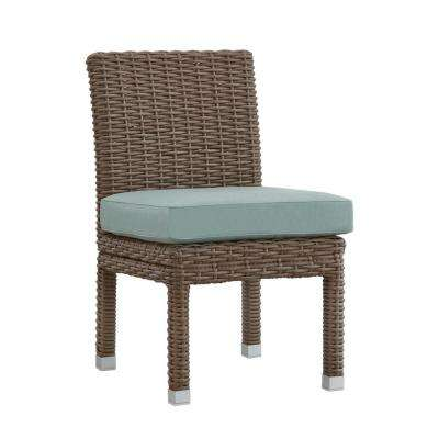 Camari Mocha Armless Wicker Outdoor Dining Chair with Blue Cushion (Set of 2)