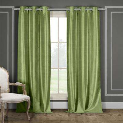 Daenerys 38 in. x 96 in. L Polyester Faux Silk Curtain Panel in Sage (2-Pack)