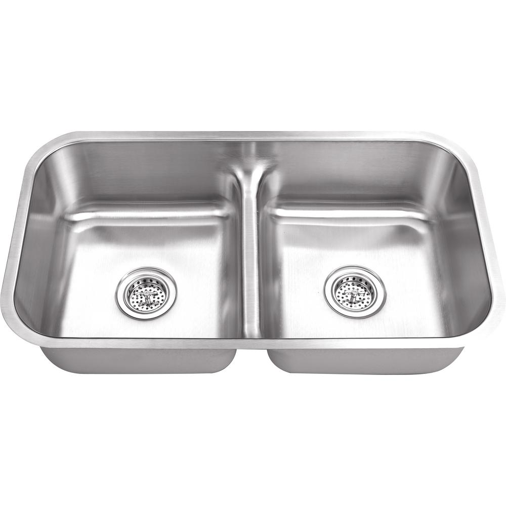 Beau IPT Sink Company Undermount 33 In. 18 Gauge Stainless Steel Kitchen Sink In  Brushed