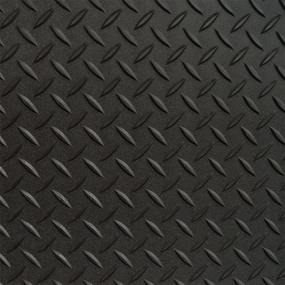 (2) 7.5 ft. x 24 ft. and (1) 5 ft. x 24 ft. Black Textured PVC Garage Flooring, 2 Car Garage Kit