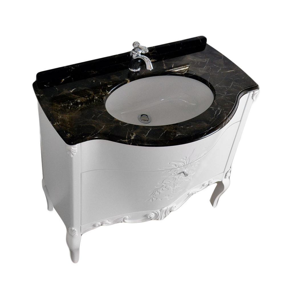 Monaco 36.5 in. W x 22 in. D Vanity in Silver with Solid Oak Wood Vanity Top in Black with Silver Basin