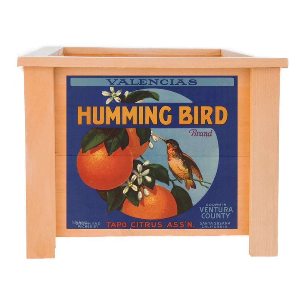 15 in. x 15 in. Deluxe Cedar Planter Box with Hummingbird