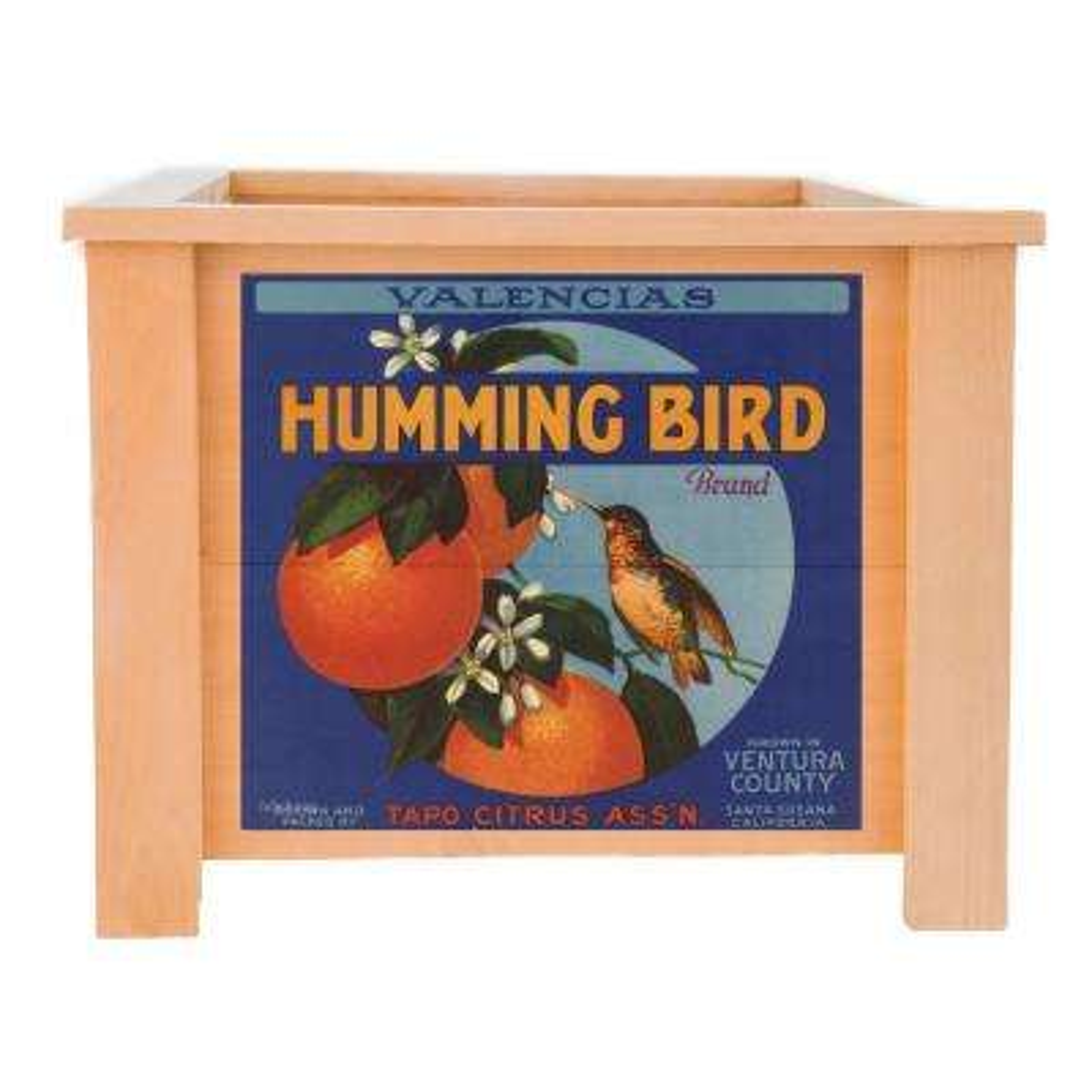 15 in. x 15 in. Deluxe Cedar Planter Box with Hummingbird Art.
