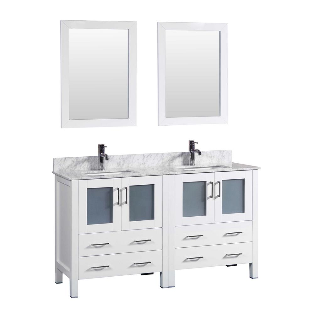 60 in. W Double Bath Vanity in White with Carrara Marble