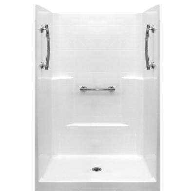 Ultimate 37 in. x 48 in. x 80 in. 1-Piece Low Threshold Shower Stall in White with Chrome Grab Bars and Center Drain