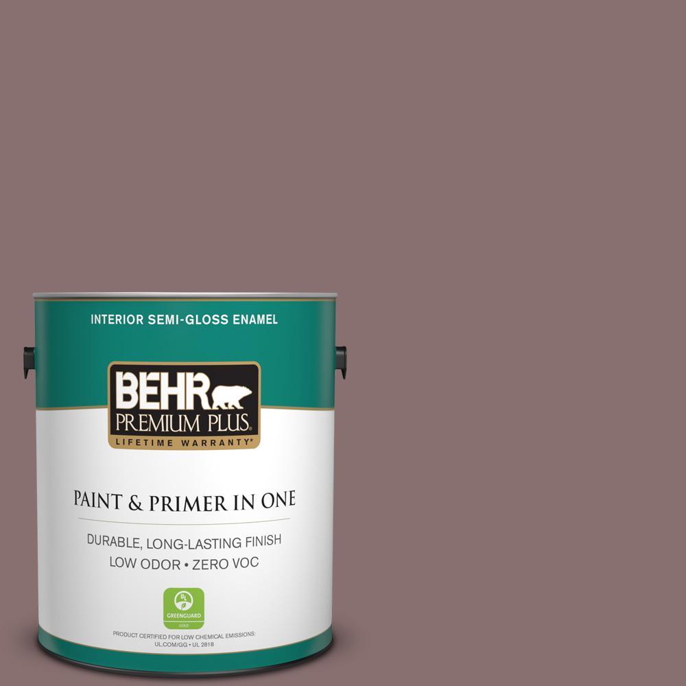 BEHR Premium Plus Home Decorators Collection 1 gal. #HDC-AC-28 Smokey Claret Semi-Gloss Enamel Zero VOC Interior Paint and Primer in One