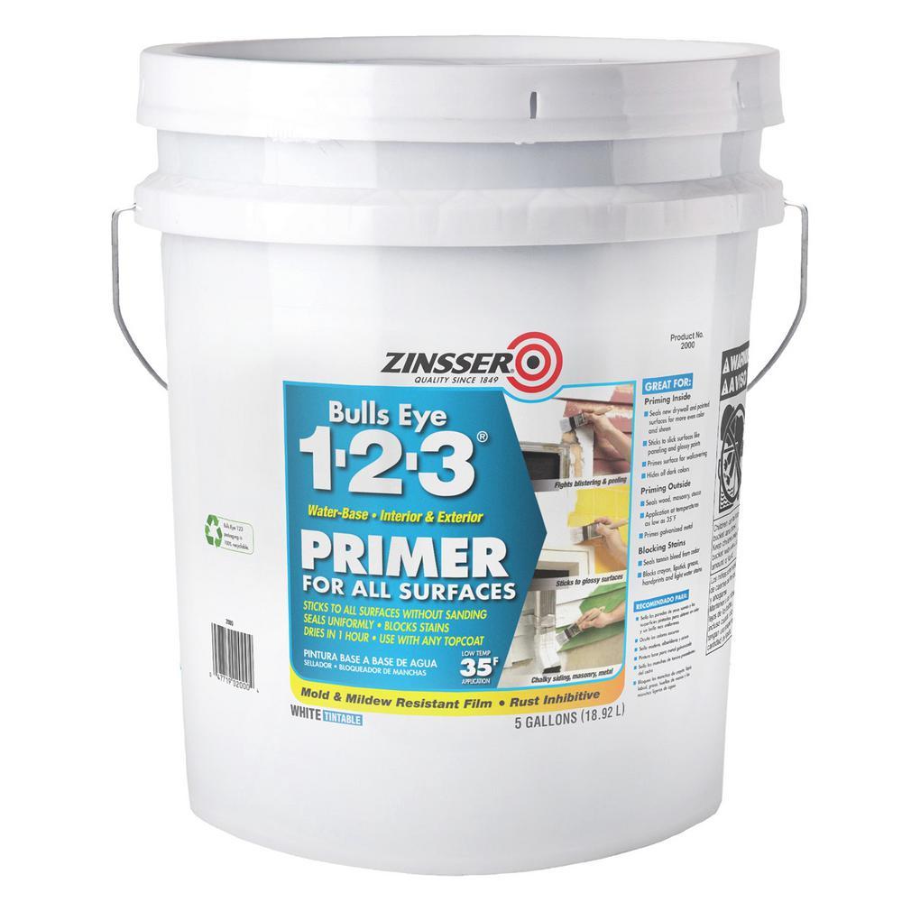 Zinsser Bulls Eye 1-2-3 5 Gal. White Water-Based Interior/Exterior Primer and Sealer