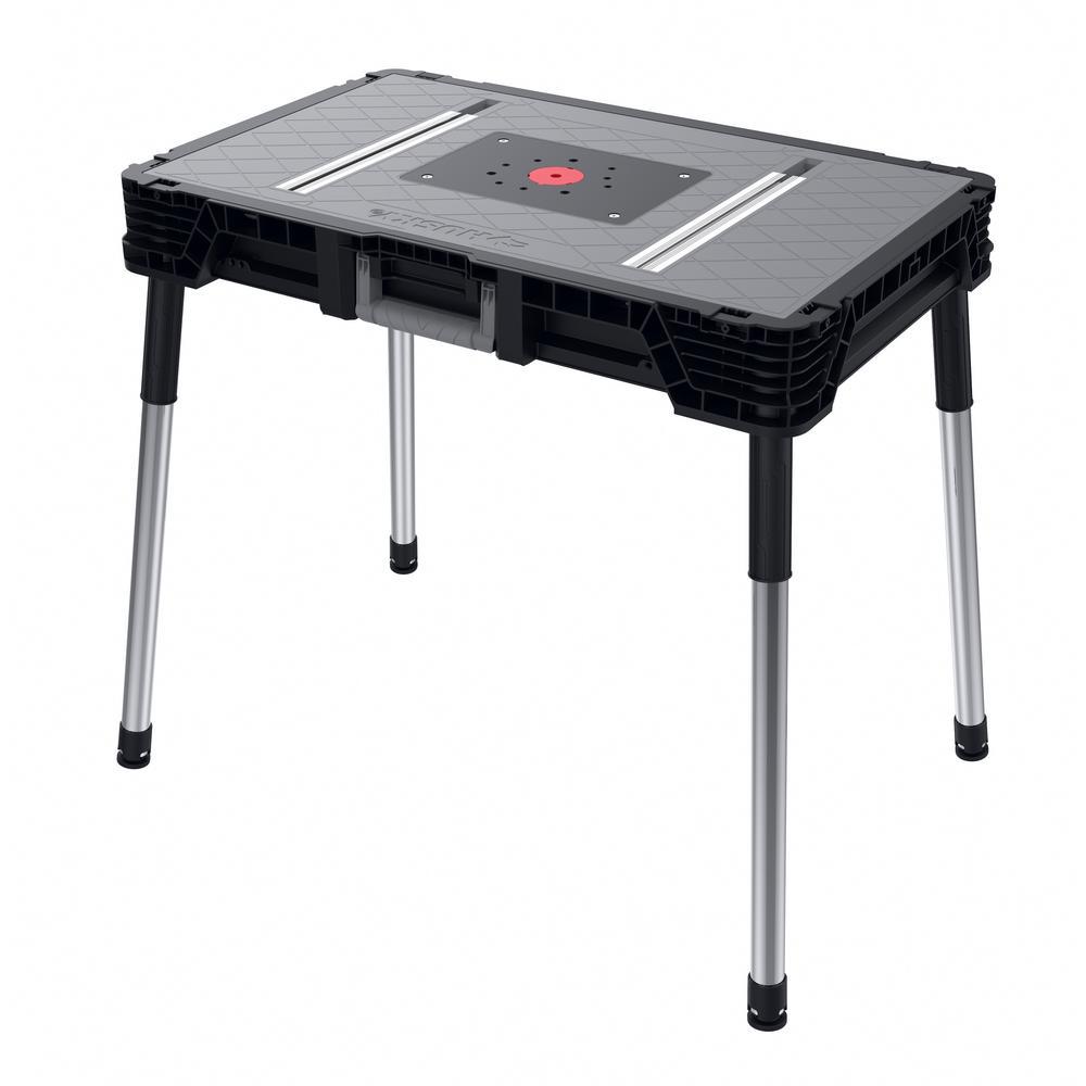 Folding Work Table Home Depot.Husky 1 8 Ft X 3 Ft Portable Jobsite Workbench 225047 The Home Depot