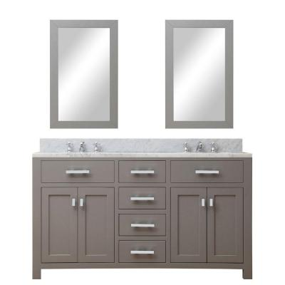 60 in. W x 21 in. D Vanity in Cashmere Grey with Marble Vanity Top in Carrara White and 2 Mirrors