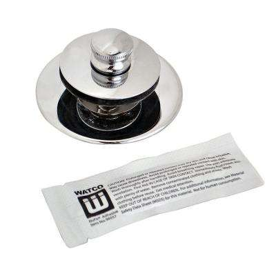 NuFit Lift and Turn Bathtub Stopper with One Hole Overflow and Silicone Kit in Chrome Plated