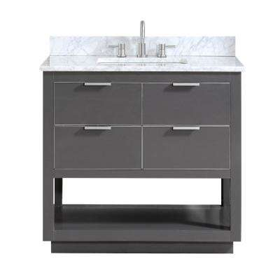 Allie 37 in. W x 22 in. D Bath Vanity in Gray with Silver Trim with Marble Vanity Top in Carrara White with Basin