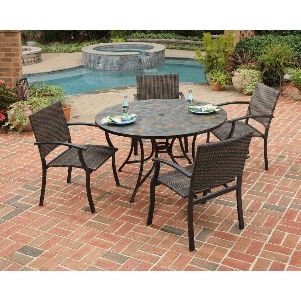 5 Piece Slate Tile Top Round Patio Dining Set With Newport  Chairs 5601 36812   The Home Depot