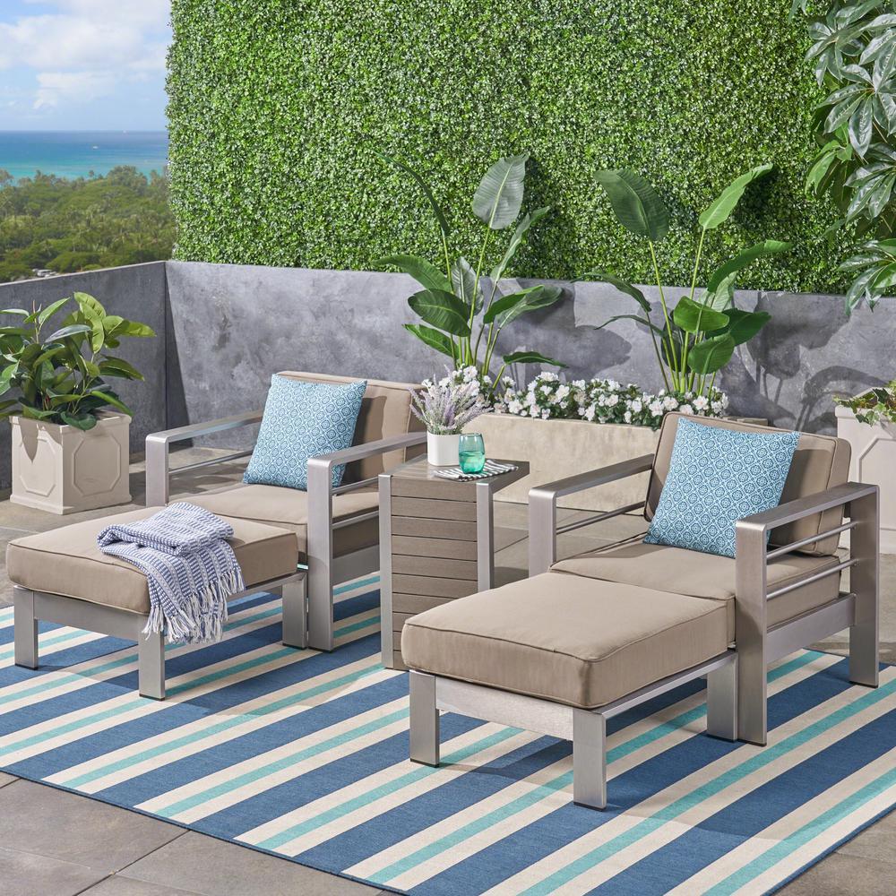 Cape Coral 4-Piece Aluminum Patio Conversation Set with Khaki Cushions