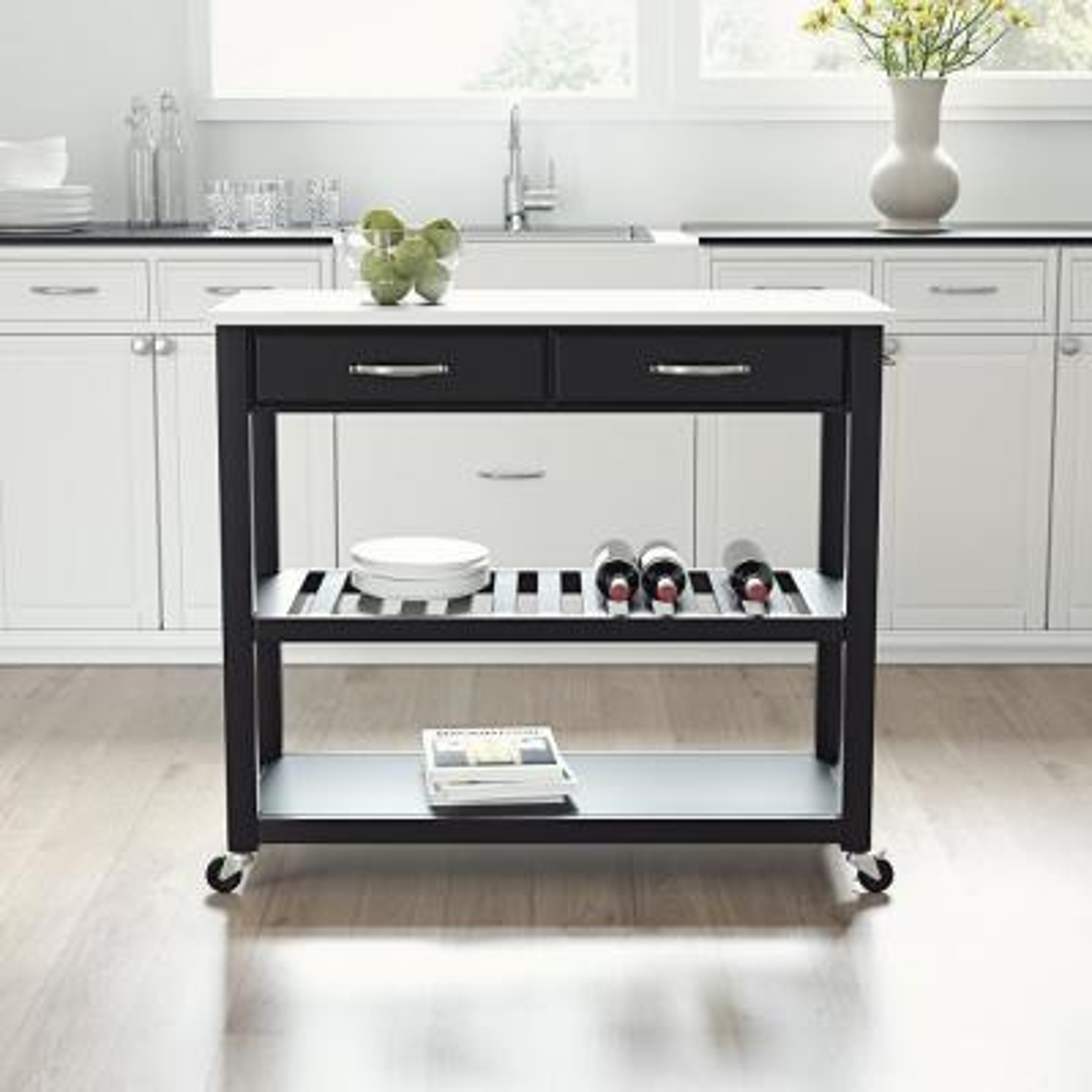 Black Full Size Kitchen Prep Cart with Granite Top