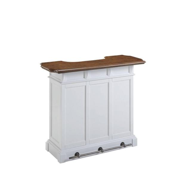 Home Styles Americana 4-Shelf White and Oak Bar with Foot Rail