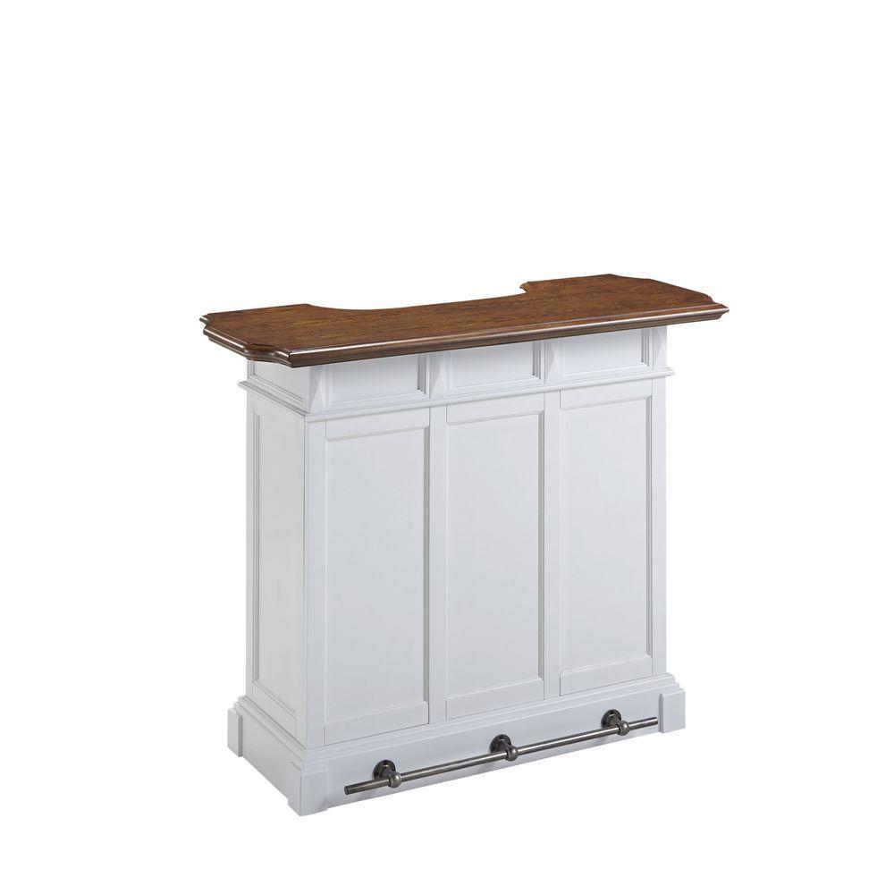 HOMESTYLES Americana 4-Shelf White and Oak Bar with Foot Rail