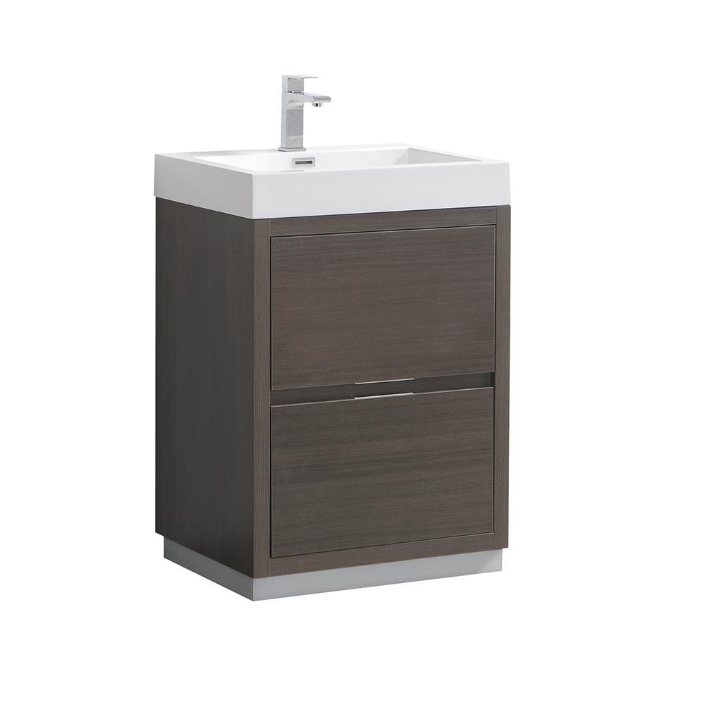 Valencia 24 in. W Bathroom Vanity in Gray Oak with Acrylic Vanity Top in White