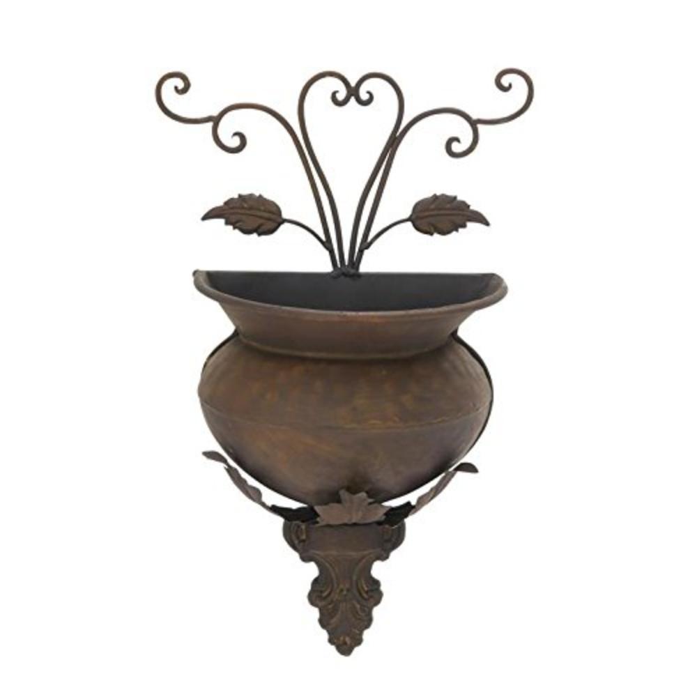 benzara dark bronze metal wall planter bm00585 the home. Black Bedroom Furniture Sets. Home Design Ideas