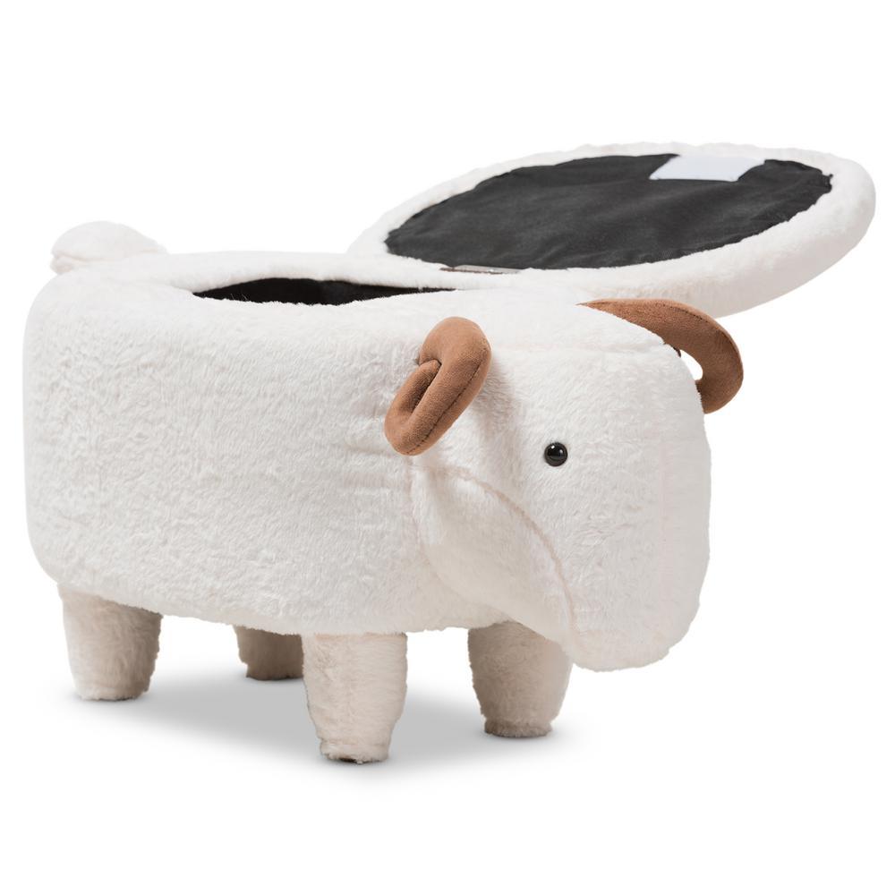 Pecora White Sheep Storage Ottoman