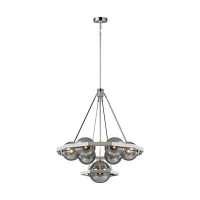 Feiss Harper 7-Light Polished Nickel Hanging Modern Chandelier with Smoke Glass Globe Shades
