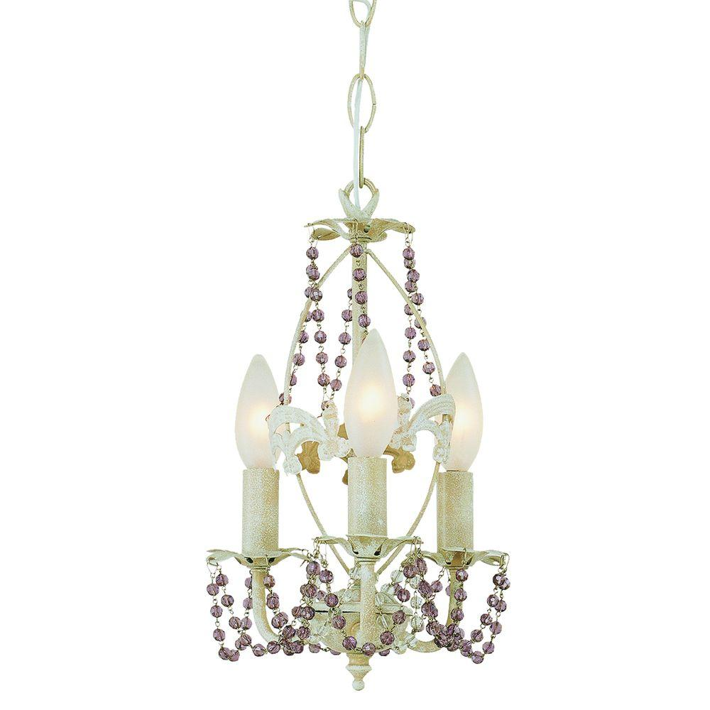 Stewart 3-Light Antique White Incandescent Ceiling Chandelier
