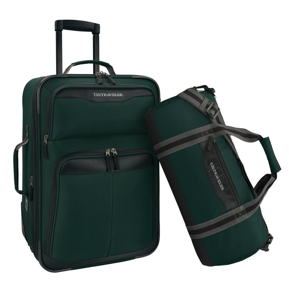 U.S. Traveler 2-Piece Carry-On Rolling Upright and Duffel Bag Luggage Set, Forest